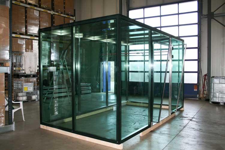 Das Glashaus während der Fertigung